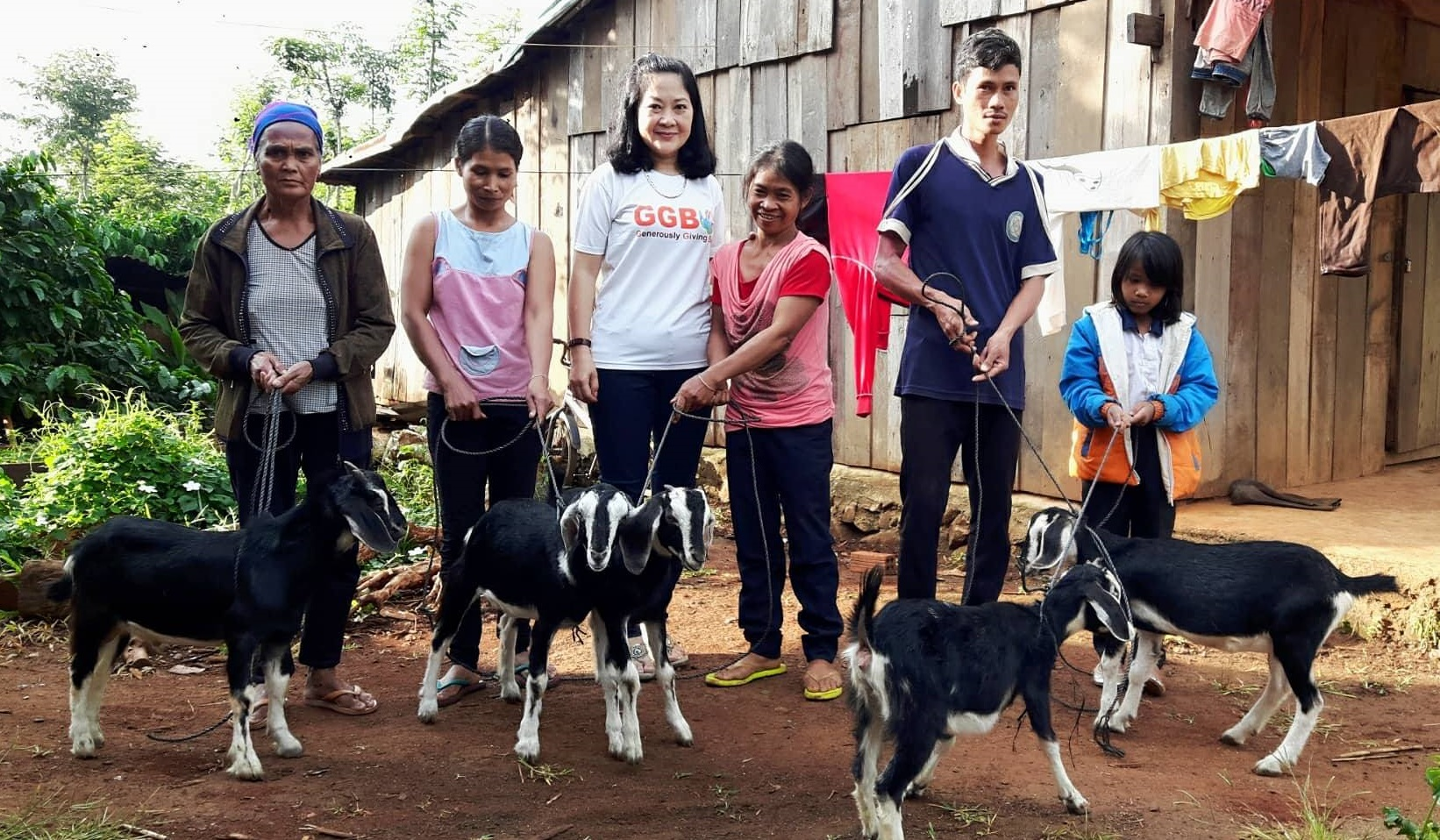 Female goats given to families in Dalak, Vietnam